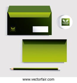 envelope, corporate identity template over white background