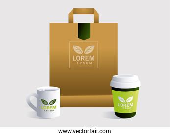 shopping bag, corporate identity template on white background