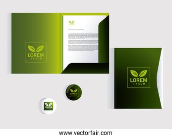 folder, corporate identity template over white background