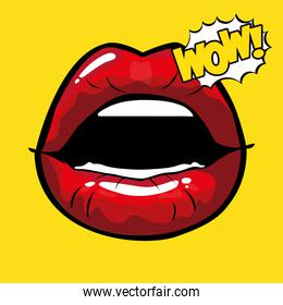 female and red pop art mouth with wow explosion vector design