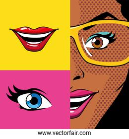 retro black woman cartoon with mouth and eye inside frames vector design