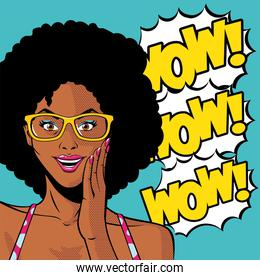 retro black afro woman cartoon with glasses and wow explosion vector design