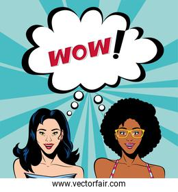 retro afro and black hair women cartoons with wow bubble vector design