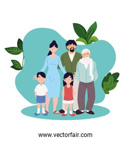Mother father daughter and son with grandfather cartoons with leaves vector design