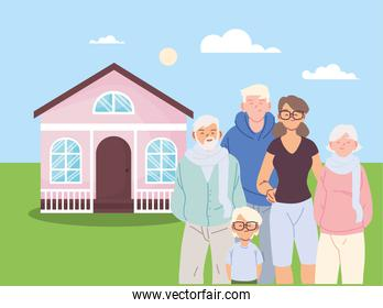 Mother father and son with grandparents cartoons in front of house vector design