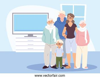 Mother father and son with grandparents cartoons in home room vector design