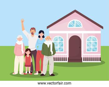 Mother father and daughter with grandparents cartoons in front of house vector design