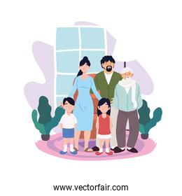 Mother father daughter and son with grandfather cartoons in home room vector design