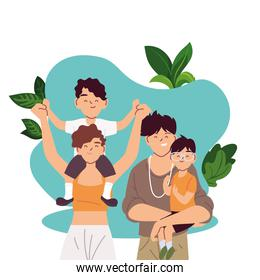 Mother father and sons cartoons and leaves vector design
