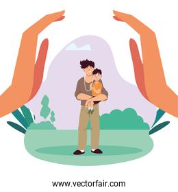 Father and son cartoons between hands vector design