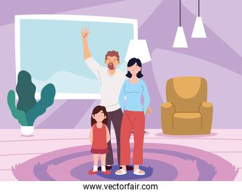 Mother father and daughter cartoons in home room vector design