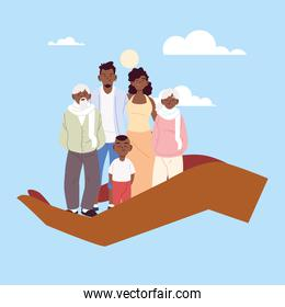 Mother father and son with grandparents cartoons on hand vector illustration