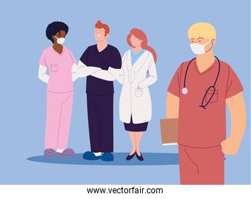women and men doctors with uniforms vector design