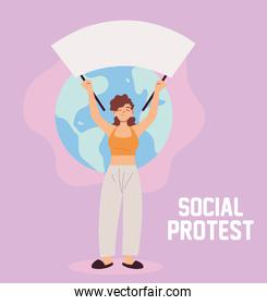 woman in social protest with banner