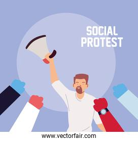 man in social protest with megaphone