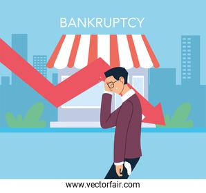 businessman with headache and decrease arrow in front of store vector design