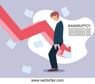 businessman with headache papers and decrease arrow vector design
