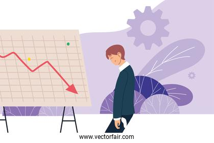 businessman with headache and decrease arrow on board with leaves vector design