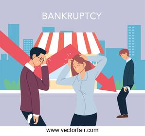 businesspeople with headache and decrease arrow in front of store vector design