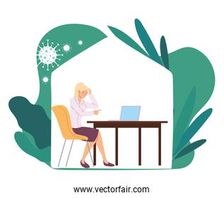 businesswoman with headache at desk with leaves vector design