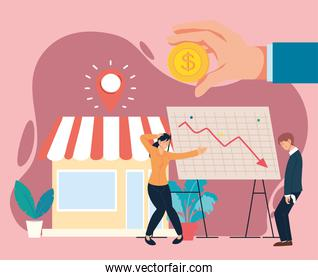 businesspeople with headache coin decrease arrow on board and store vector design