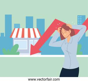 businesswoman with headache and decrease arrow in front of store vector design