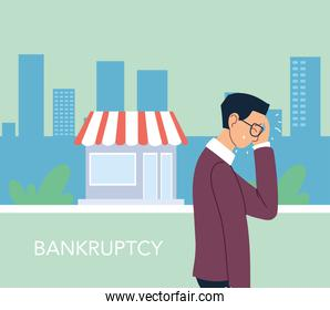 businessman with headache in front of store vector illustration