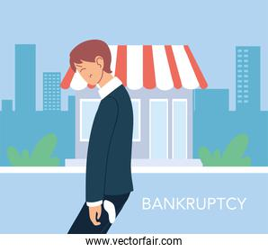 businessman with headache in front of store vector design