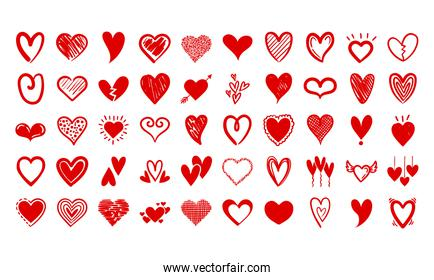 bundle of hearts love set icons