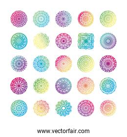 bundle of twenty five colorfull mandalas set icons
