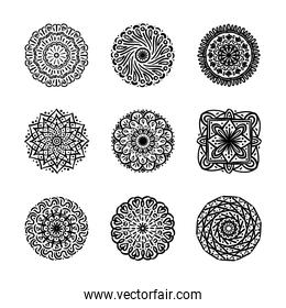 bundle of nine mandalas set icons