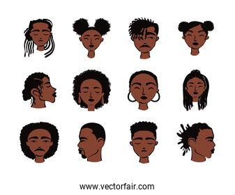 group of twelve afro ethnic people characters