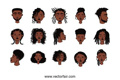 group of fifteen afro ethnic people avatars characters