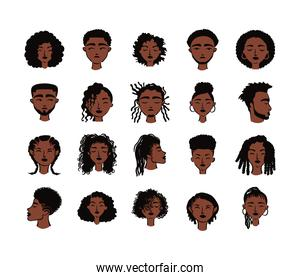 twenty afro ethnic people avatars characters