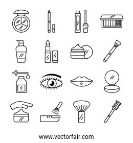pack of sixteen make up cosmetics set icons