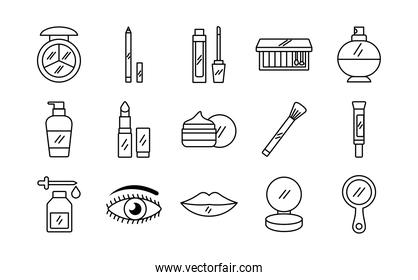 pack of fifteen make up cosmetics set icons
