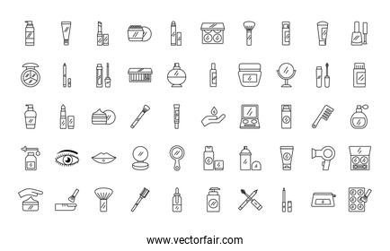 pack of fifty make up cosmetics set icons