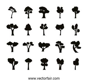 collection of twenty trees, silhouette style icons