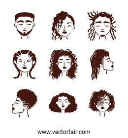 group of nine afro ethnic people avatars characters