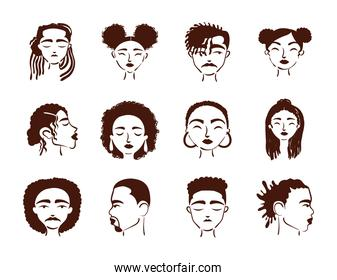 group of twelve afro ethnic people avatars characters
