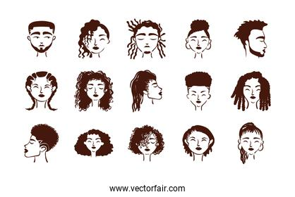 group of fifteen afro ethnic people avatars