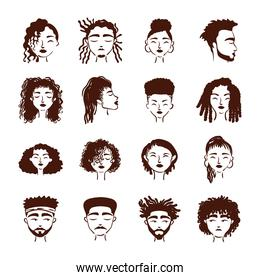 group of sixteen afro ethnic people avatars characters