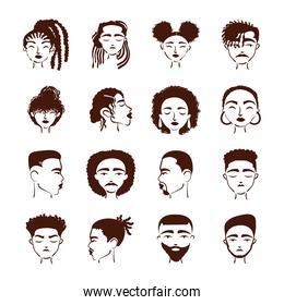 sixteen afro ethnic people avatars characters