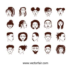group of twenty afro ethnic people avatars characters