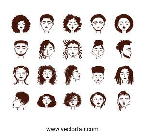 twenty afro ethnic people avatars characters pack