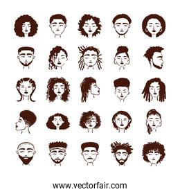 group of twenty five afro ethnic people avatars characters