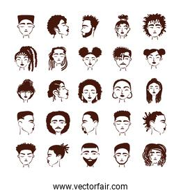 twenty five afro ethnic people avatars characters pack