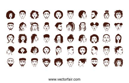 group of fifty afro ethnic people avatars characters