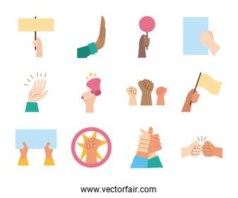 bundle of hands protest set icons
