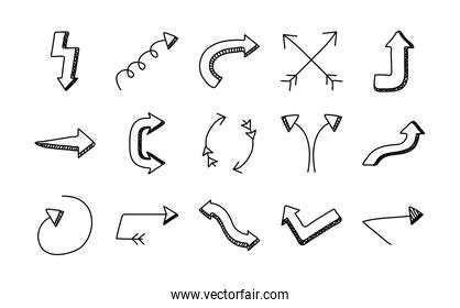 bundle of fifteen arrows set icons